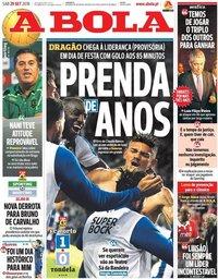 capa Jornal A Bola de 29 setembro 2018