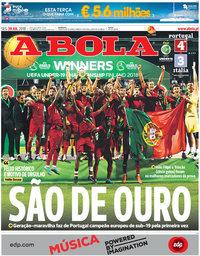 capa Jornal A Bola de 30 julho 2018