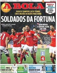 capa Jornal A Bola de 30 agosto 2018