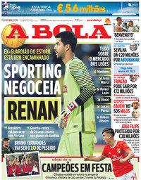 capa Jornal A Bola de 31 julho 2018