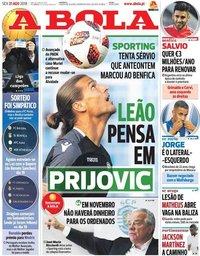 capa Jornal A Bola de 31 agosto 2018