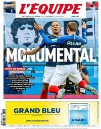 capa Jornal L'Équipe de 1 julho 2018