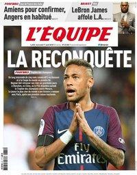 capa Jornal L'Équipe de 1 agosto 2018