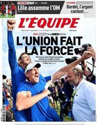 capa Jornal L'Équipe de 1 outubro 2018