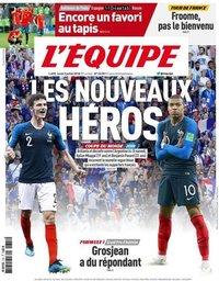 capa Jornal L'Équipe de 2 julho 2018