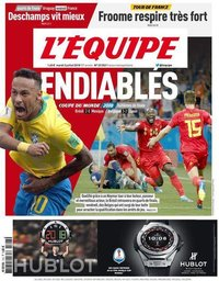 capa Jornal L'Équipe de 3 julho 2018