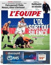 capa Jornal L'Équipe de 3 outubro 2018