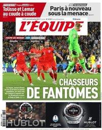 capa Jornal L'Équipe de 4 julho 2018