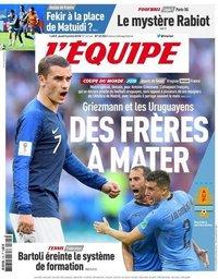 capa Jornal L'Équipe de 5 julho 2018