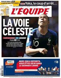 capa Jornal L'Équipe de 6 julho 2018