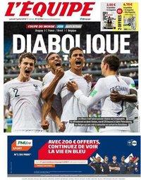 capa Jornal L'Équipe de 7 julho 2018