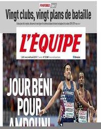 capa Jornal L'Équipe de 8 agosto 2018