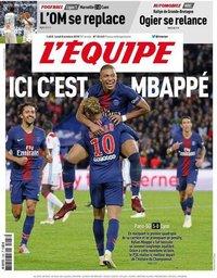 capa Jornal L'Équipe de 8 outubro 2018