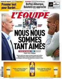 capa Jornal L'Équipe de 9 julho 2018