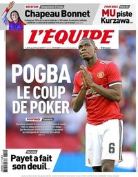 capa Jornal L'Équipe de 9 agosto 2018