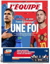 capa Jornal L'Équipe de 10 julho 2018