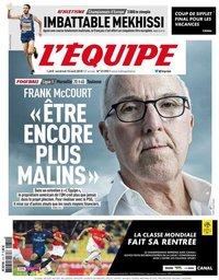 capa Jornal L'Équipe de 10 agosto 2018