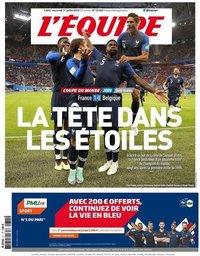 capa Jornal L'Équipe de 11 julho 2018