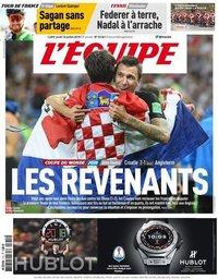 capa Jornal L'Équipe de 12 julho 2018