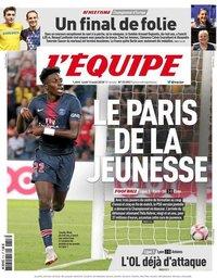 capa Jornal L'Équipe de 13 agosto 2018