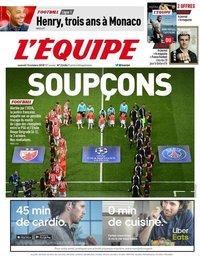 capa Jornal L'Équipe de 13 outubro 2018