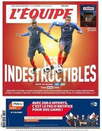 capa Jornal L'Équipe de 14 julho 2018
