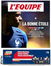 capa Jornal L'Équipe de 15 julho 2018