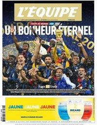 capa Jornal L'Équipe de 16 julho 2018