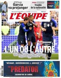 capa Jornal L'Équipe de 17 outubro 2018