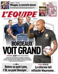 capa Jornal L'Équipe de 18 agosto 2018