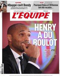 capa Jornal L'Équipe de 18 outubro 2018
