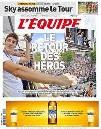 capa Jornal L'Équipe de 19 julho 2018