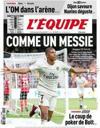 capa Jornal L'Équipe de 19 agosto 2018