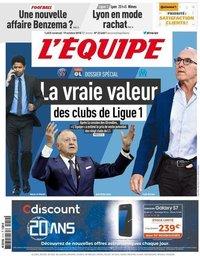capa Jornal L'Équipe de 19 outubro 2018