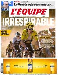 capa Jornal L'Équipe de 20 julho 2018