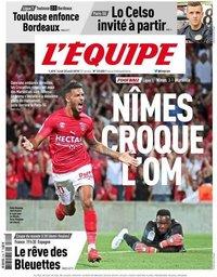 capa Jornal L'Équipe de 20 agosto 2018