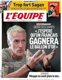capa Jornal L'Équipe de 21 julho 2018