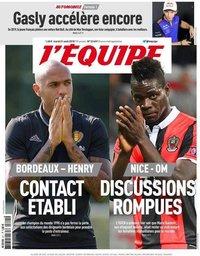capa Jornal L'Équipe de 21 agosto 2018