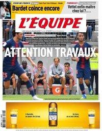capa Jornal L'Équipe de 22 julho 2018