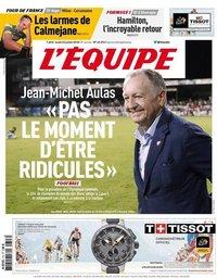 capa Jornal L'Équipe de 23 julho 2018