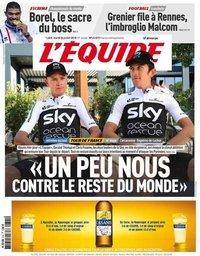 capa Jornal L'Équipe de 24 julho 2018
