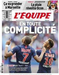 capa Jornal L'Équipe de 26 agosto 2018