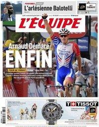 capa Jornal L'Équipe de 27 julho 2018