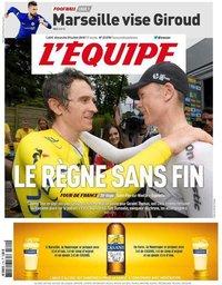 capa Jornal L'Équipe de 29 julho 2018
