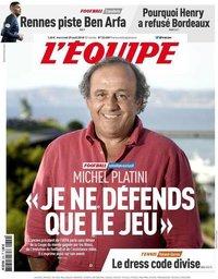 capa Jornal L'Équipe de 29 agosto 2018