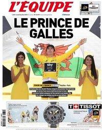 capa Jornal L'Équipe de 30 julho 2018