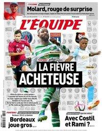 capa Jornal L'Équipe de 30 agosto 2018