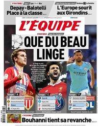 capa Jornal L'Équipe de 31 agosto 2018