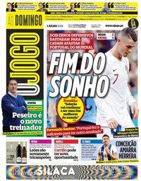 capa Jornal O Jogo de 1 julho 2018