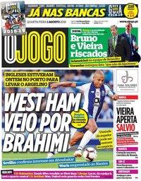 capa Jornal O Jogo de 1 agosto 2018